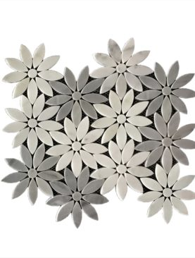 MG681 - Grey Lily Flower Marble Mosaic
